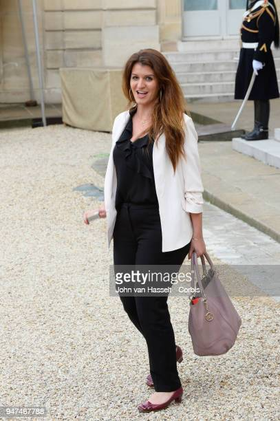 Marlene Schiappa Secretary of State for Gender Equality leaves the Elysee Palace after her meeting with both heads of state President Emmanuel Macron...
