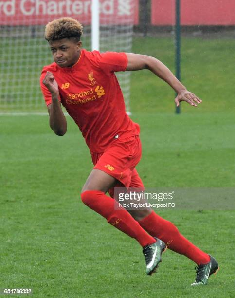 Marley Blair of Liverpool in action during the Liverpool v Blackburn Rovers U18 Premier League game at The Kirkby Academy on March 18 2017 in Kirkby...