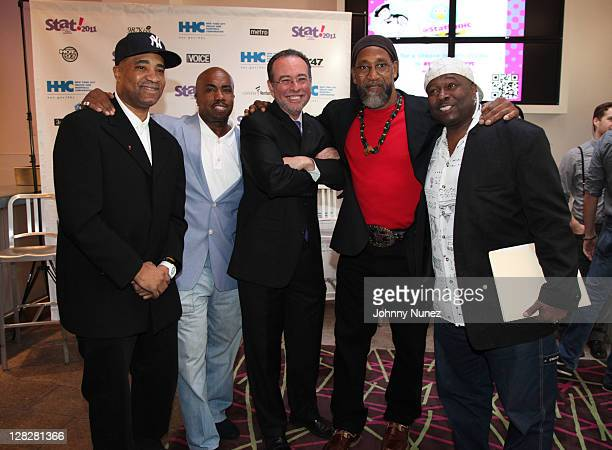 Marley Marl Paul Anthony Alan D Aviles DJ Kool Herc and Bowlegged Lou attend the New York City Health and Hospitals Corporation press conference at...