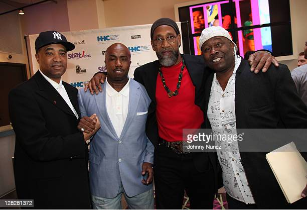 Marley Marl Paul Anthony DJ Kool Herc and Bowlegged Lou attend the New York City Health and Hospitals Corporation press conference at Aloft on...