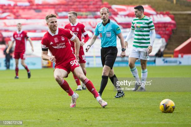 Marley Watkins of Aberdeen during the Ladbrokes Premiership match between Aberdeen and Celtic at Pittodrie Stadium on October 25 2020 in Aberdeen...