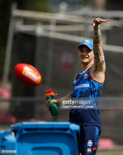 Marley Williams of the Kangaroos throws a ball into the bin during the North Melbourne Kangaroos training session at Arden St on November 15 2017 in...