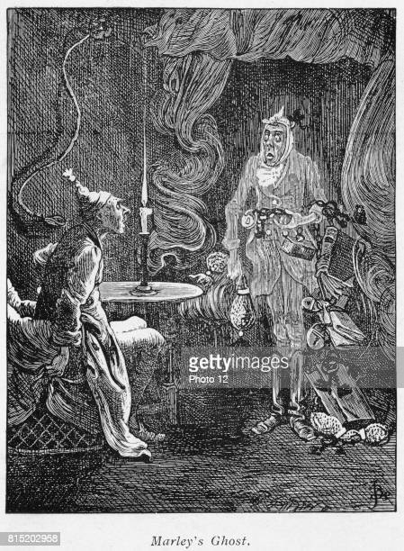 Marley's ghost appearing to Scrooge Illustration for Charles Dickens A Christmas Carol London 18431844