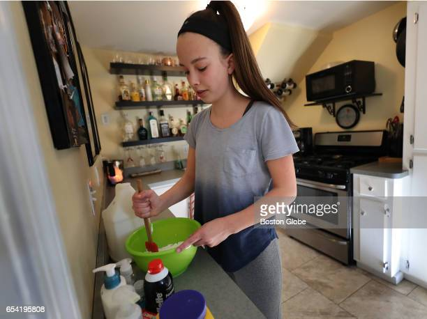 Marli Perl makes slime at her home in Scituate MA on Mar 2 2017 She has a thriving business selling the slime to students at school It's part of a...