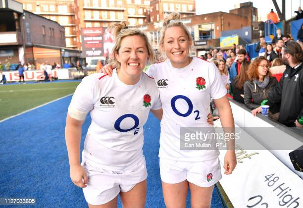 Marlie Packer and Natasha Hunt of England pose for a photograph following the Wales Women and England Women match in the Women's Six Nations at...