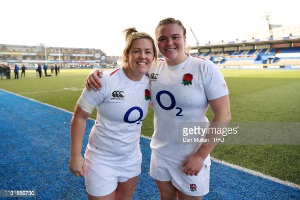 Marlie Packer and Sarah Bern of England pose for a photo following victory during the Women's Six Nations match between Wales Women and England Women...