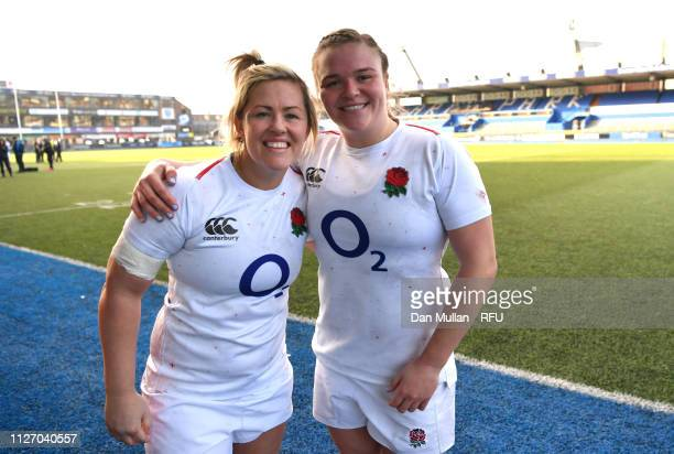 Marlie Packer and Sarah Bern of England pose for a photograph following the Wales Women and England Women match in the Women's Six Nations at Cardiff...