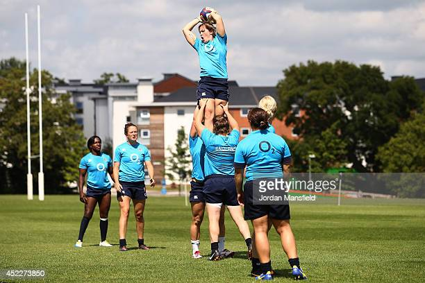 Marlie Packer catches the ball in the lineout during the England Women's Rugby training session at Surrey Sports Park on July 17 2014 in Guildford...