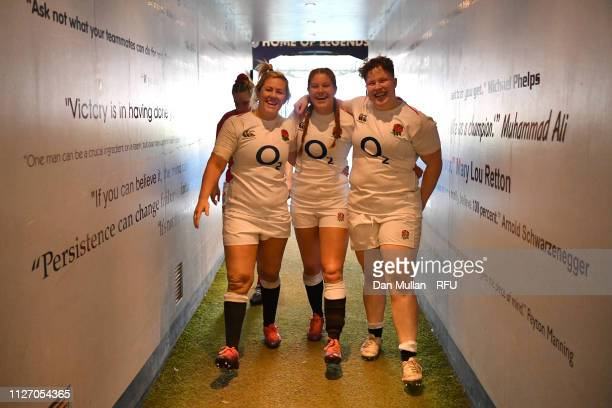 Marlie Packer Jess Breach and Hannah Botterman of England celebrate after the Wales Women and England Women match in the Women's Six Nations at...