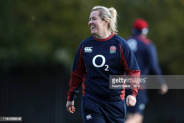 Marlie Packer looks on during England Women's Training at Loughborough University on October 30 2019 in Loughborough England The Red Roses will play...