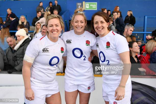 Marlie Packer Natasha Hunt amd Katy DaleyMcLean of England pose for a photograph following the Wales Women and England Women match in the Women's Six...