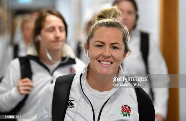 Marlie Packer of England arrives at the stadium prior to the Womens Six Nations match between England and Italy at Sandy Park on March 09 2019 in...