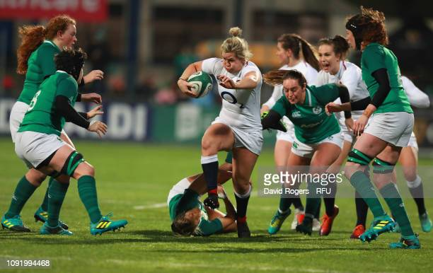 Marlie Packer of England attempts break clear during the Women's Six Nations match between Ireland and England at Energia Park Donnybrook on February...