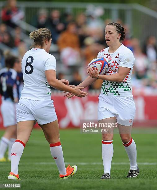 Marlie Packer of England celebrates her try with Katy Mclean during the London Ladies Sevens at Cardinal Vaughan on May 11 2013 in London England