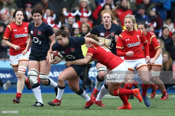 Marlie Packer of England charges upfield during the Womens Six Nations match between Wales and England at the Cardiff Arms Park on February 11 2017...