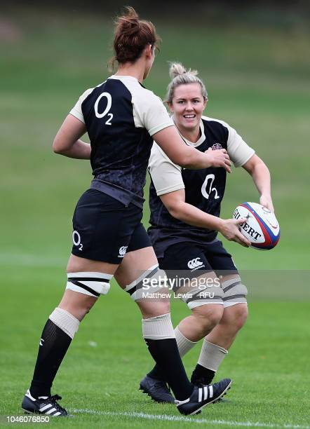 Marlie Packer of England in action during an England Women's Training session at Loughborough University on October 5 2018 in Loughborough England