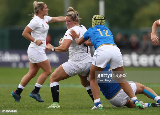 Marlie Packer of England is tackled by Beatrice Rigoni of Italy during the Women's Rugby World Cup 2017 between England and Italy on August 13 2017...