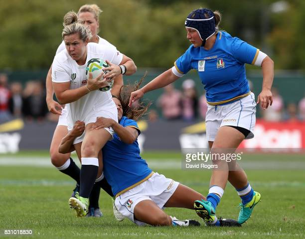 Marlie Packer of England is tackled during the Women's Rugby World Cup 2017 between England and Italy on August 13 2017 in Dublin Ireland