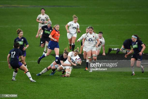 Marlie Packer of England is tackled during the Women's Six Nations match between England Women and Scotland Women at Twickenham Stadium on March 16...