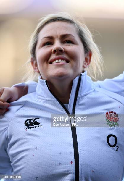 Marlie Packer of England lines up for the national anthem during the Women's Six Nations match between Wales Women and England Women at Cardiff Arms...