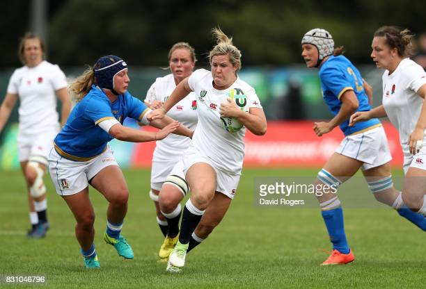 Marlie Packer of England makes a break during the Women's Rugby World Cup 2017 between England and Italy on August 13 2017 in Dublin Ireland