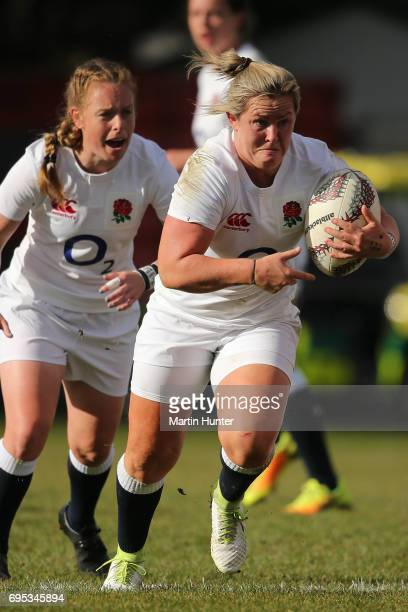 Marlie Packer of England makes a break during the Women's International Test match between Canada and the England Roses at Rugby Park on June 13 2017...