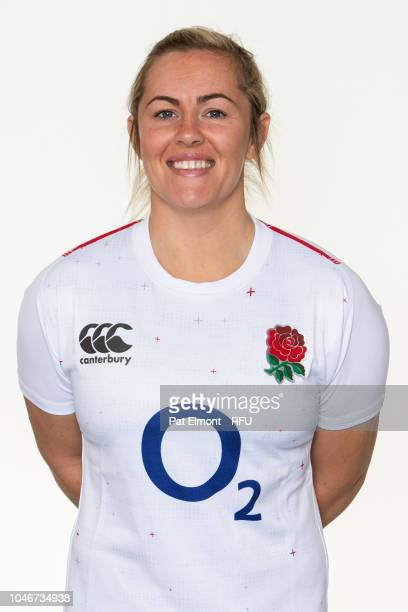 Marlie Packer of England poses for a portrait during the England Women's Squad photo call at Loughborough University on October 6 2018 in...
