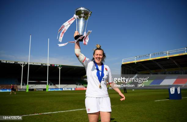 Marlie Packer of England poses with the trophy after the Women's Six Nations match between England and France at The Stoop on April 24, 2021 in...