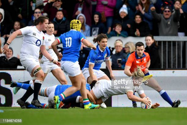 Marlie Packer of England scores a try during the Womens Six Nations match between England and Italy at Sandy Park on March 09 2019 in Exeter England