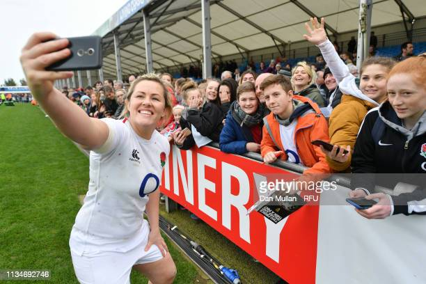 Marlie Packer of England stops for a photograph with fans following the Womens Six Nations match between England and Italy at Sandy Park on March 09...