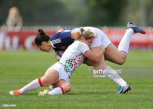 Marlie Packer of England tackles Alexandra Pertus of France during the London Ladies Sevens match between England and France at Cardinal Vaughan on...