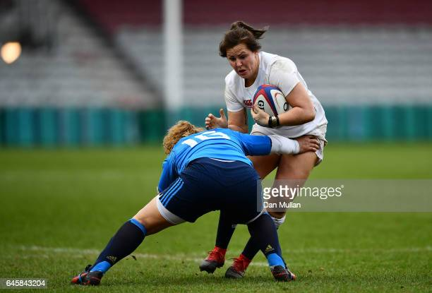 Marlie Packer of England takes on Elisa Cucchiella of Italy during the RBS Womens Six Nations match between England and Italy at Twickenham Stoop on...