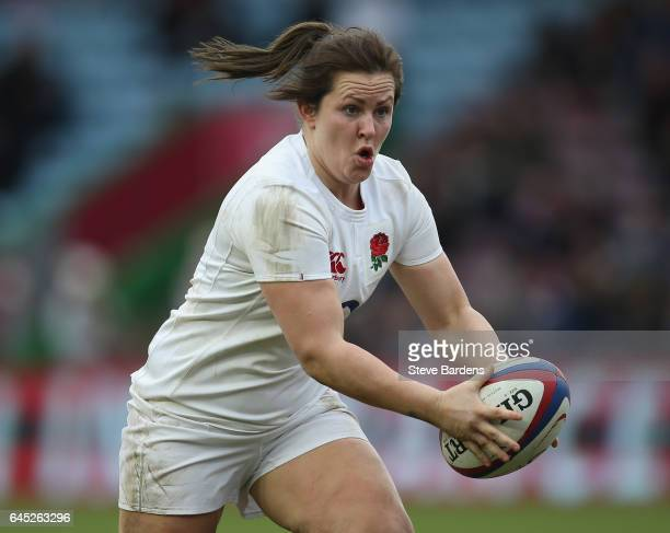 Marlie Packer of England Women in action during the Womens Six Nations match between England Women and Italy Women at Twickenham Stoop on February 25...