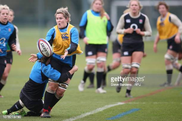Marlie Packer of England Women passes the ball during the England Women's training session at Bisham Abbey on January 6 2019 in Marlow England