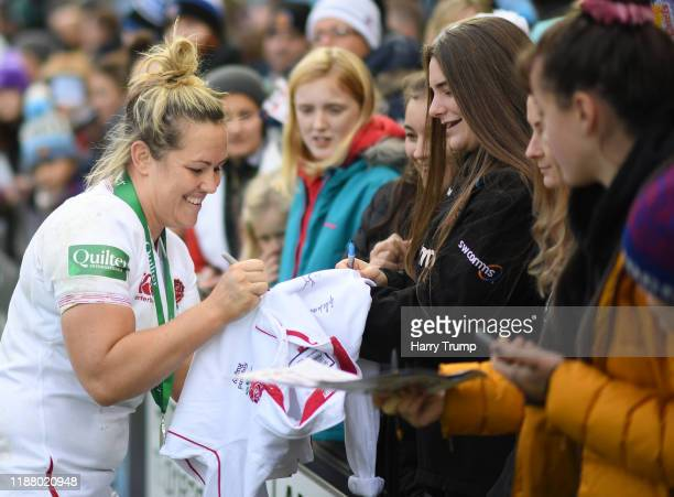 Marlie Packer of England Women signs an autograph during the Quilter International match between England Women and France Women at Sandy Park on...