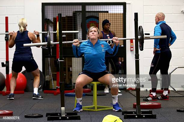 Marlie Packer warms up in the gym ahead of an England Training Session during the IRB Women's Rugby World Cup 2014 at Stade Montelievres on August 15...