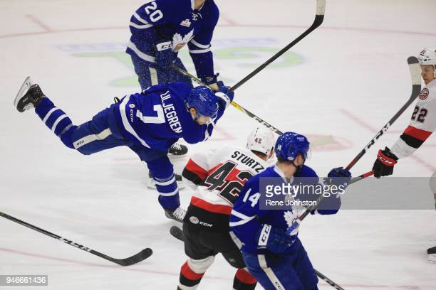 TORONTO ON APRIL 15 Marlies April 15 Toronto Marlies Tim Liljegren rips a shot in traffic against the Belleville Senators in the second at the Ricoh...