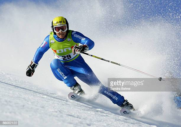 Marlies Oester of Switzerland competes during the giant slalom of the FIS Ski World cup on October 22 2005 in Soelden Austria