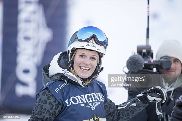 Marlies Raich is seen after her run of the KitzCharityTrophy on January 21 2017 in Kitzbuehel Austria