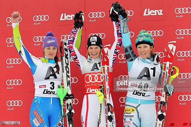 Marlies Schild of Austria takes 1st place, Tina Maze of Slovenia takes 2nd place, Mikaela Shiffrin of USA takes 3rd place during the Audi FIS Alpine...