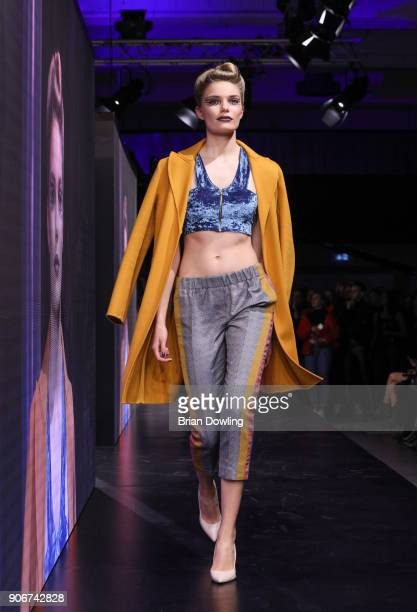 Marlies Smedinga walks the runway during the Maybelline Show 'Urban Catwalk Faces of New York' at Vollgutlager on January 18 2018 in Berlin Germany