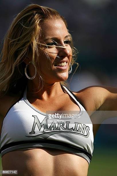 Marlins' Mermaid performs between innings as the Washington Nationals take on the Florida Marlins on opening day at Dolphin Stadium on April 6 2009...