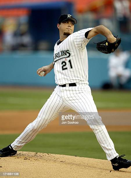 Marlins starting pitcher Josh Beckett during Los Angeles Dodgers vs Florida Marlins August 12 2003 at Pro Player Stadium in Miami Florida United...
