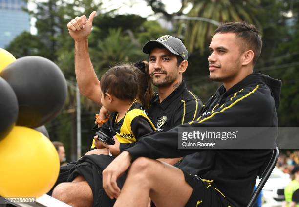 Marlion Pickett and Sydney Stack of the Tigers attend during the 2019 AFL Grand Final Parade on September 27, 2019 in Melbourne, Australia.
