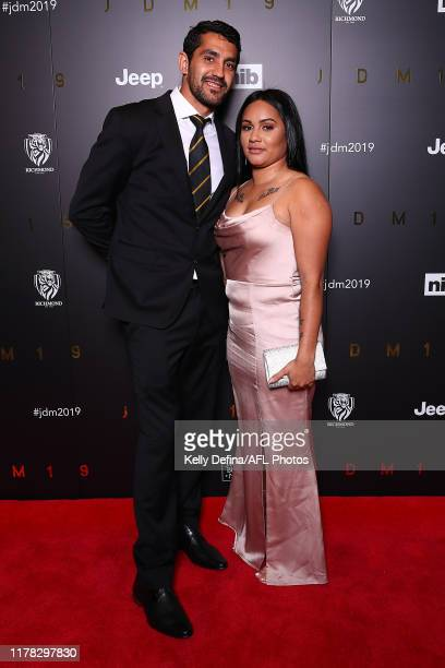 Marlion Pickett of the Tigers and partner attends the 2019 Richmond Tigers AFL best & fairest at Crown Palladium on October 01, 2019 in Melbourne,...