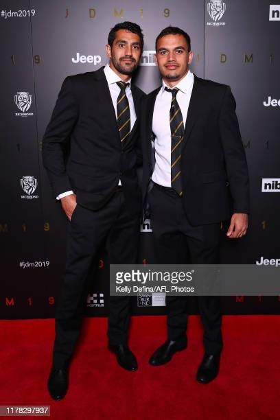 Marlion Pickett of the Tigers and Sydney Stack of the Tigers attend the 2019 Richmond Tigers AFL best & fairest at Crown Palladium on October 01,...