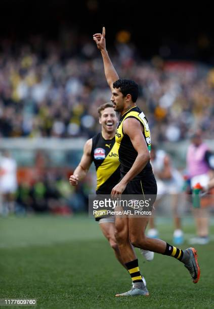 Marlion Pickett of the Tigers celebrates after kicking his first AFL goal during the 2019 AFL Grand Final match between the Richmond Tigers and the...