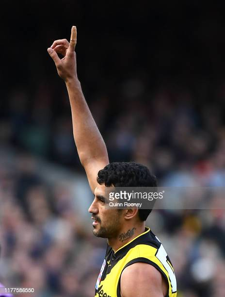Marlion Pickett of the Tigers celebrates kicking a goal during the 2019 AFL Grand Final match between the Richmond Tigers and the Greater Western...