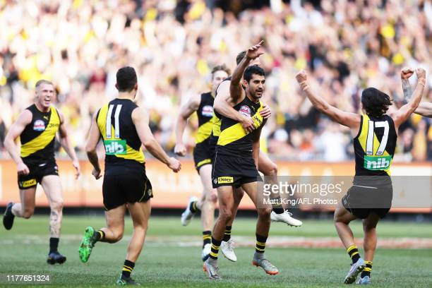 Marlion Pickett of the Tigers celebrates with team mates after kicking a goal during the 2019 AFL Grand Final match between the Richmond Tigers and...