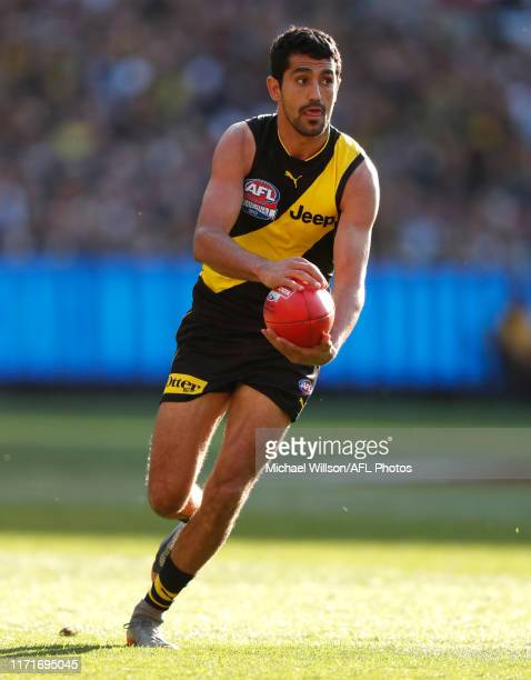 Marlion Pickett of the Tigers in action during the 2019 Toyota AFL Grand Final match between the Richmond Tigers and the GWS Giants at the Melbourne...